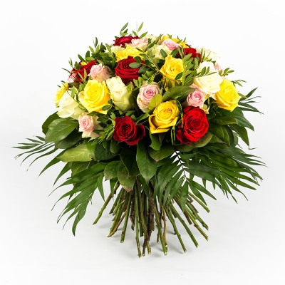 Bouquet 40 roses multicolore