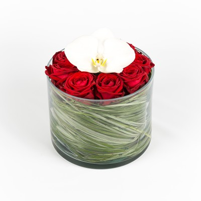 Compo verrerie roses