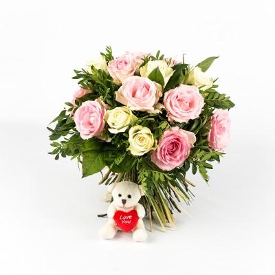 Bouquet de naissance et ours en peluche